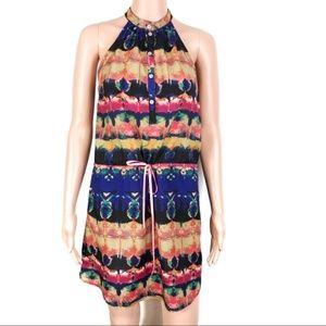Aqua Halter Neck Multi Print Dress Sz Small